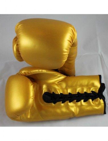 Box Handschuhe aus Kunstleder mit schnur Farbe GOLD - 1