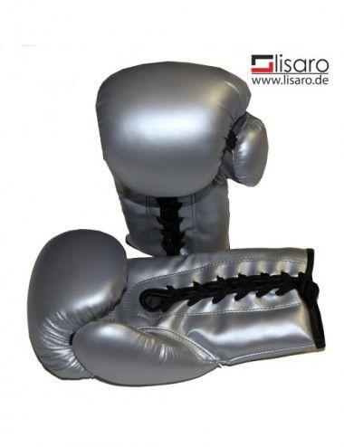 Box Handschuhe aus Kunstleder mit schnur Farbe Silver - 1