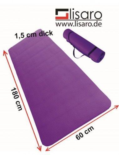LISARO Gymnastikmatte Sportmatte 180 x 60 x 1,5 cm blau aus NBR , Ideal geeignet für Yoga, Pilates, Yoga, Gymnastik - 1