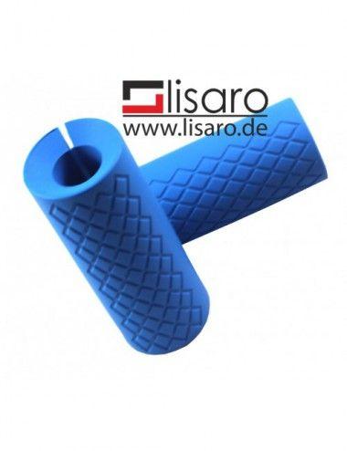 Hantelgriffe aus Silikon in Blau, Grips bigsize, LISARO Hantelgriffe, Fitness Bar Grips, Universal Arm Barbell Griffe - 1