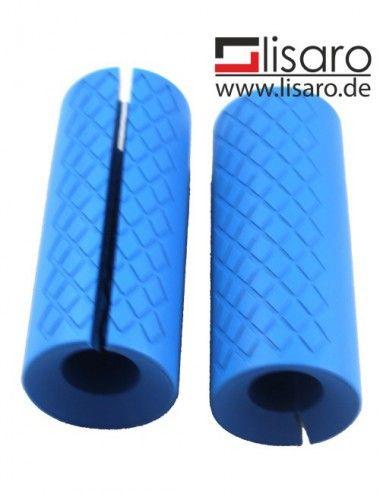 Hantelgriffe aus Silikon in Blau, Grips smallsize, LISARO Hantelgriffe, Fat Bar Grips, Universal Arm Barbell Griffe - 1