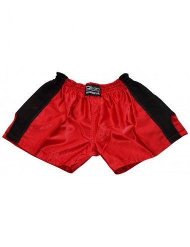 Thaiboxing Short, K-1 Shorts, Kickboxhose mit Satin Mesh in rot/schwarz - 1