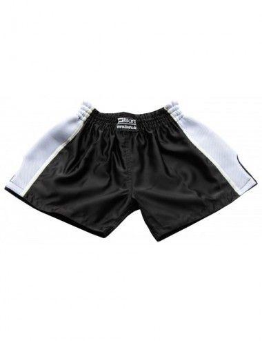 Thaiboxing Short, K-1 Shorts, Kickboxhose mit Satin Mesh in schwarz/weiß - 1