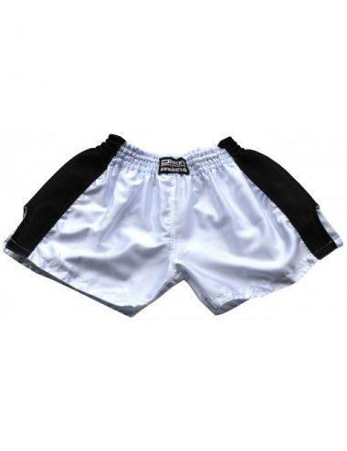 Thaiboxing Short, K-1 Shorts, Kickboxhose mit Satin Mesh in weiß/schwarz - 1