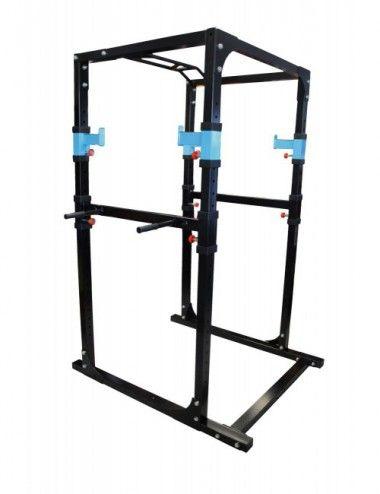 Lisaro Power Rack/Cage, Kraftstation mit 2 x Safety Spotter + 4 x J-Hooks + 20-stufig + Multi Gripp-Klimmzugstange + Dipstangen