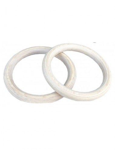 Lisaro Turnringe aus Holz, Gymnastikringe Set Holzringe + Nylongurt, 28mm. Gym Ring-Set aus Holz inkl. Straps - 1