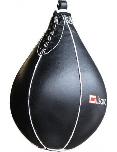 Lisaro Speed Ball, Boxbirne, Punchingball Schlagbirne echtes Leder, Speed Ball schwarz - 1