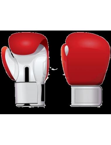 Box-Handschuhe aus Leder rot/weiß - 1