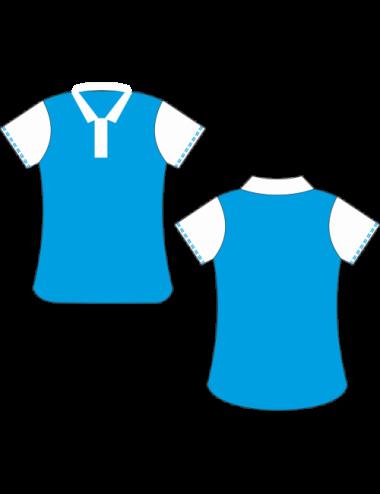 Lady Dart-Polo  blau / weiß - 1